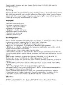 experienced pediatric resume professional pediatric occupational therapist templates to showcase your talent myperfectresume