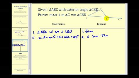 proof  exterior angles theorem youtube