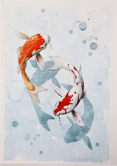 Koi Fish Drawing Painting Creative Aesthetic Watercolor