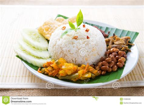 hawker cuisine food nasi lemak stock photo image of acar dish