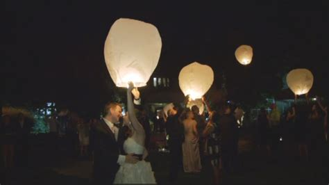 Flying Sky Wish Lanterns At A Toronto Irish Wedding