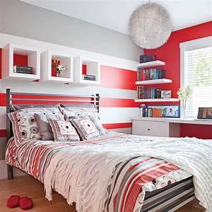 color zoning en rouge gris et blanc chambre With deco chambre gris et blanc