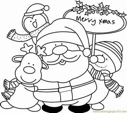 Santa Coloring Friends Pages Claus Christmas Coloringpages101