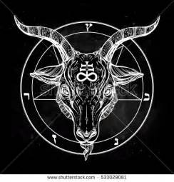 Satanic Goat Head Pentagram with Symbols