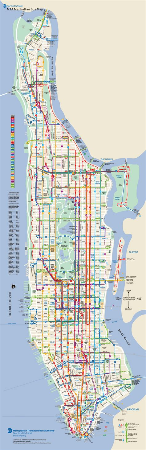 large detailed bus routes map  manhattan manhattan