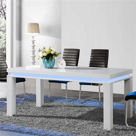 high gloss dining room tables lenovo dining table in white high gloss with led lights