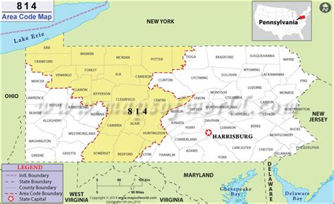 814 Area Code Map, Where Is 814 Area Code In Pennsylvania
