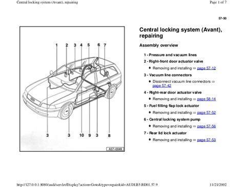 audi a4 b5 1 8l 1996 bady 57 50 central locking system
