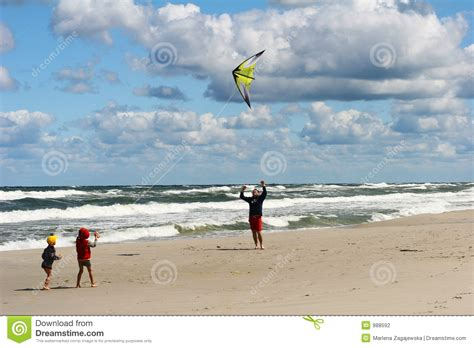 cerf volant sur la plage photo stock image du enfants