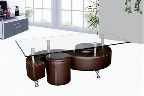 ensemble table cuisine table basse avec poufs wendy verre et simili cuir noir