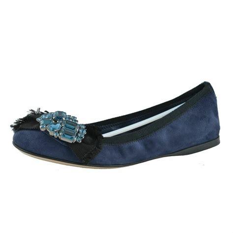 miu miu womens suede dark blue crystal decorated ballet