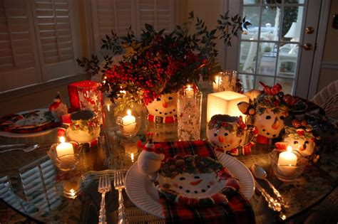 winter tablescape  snowman plates plaid napkins