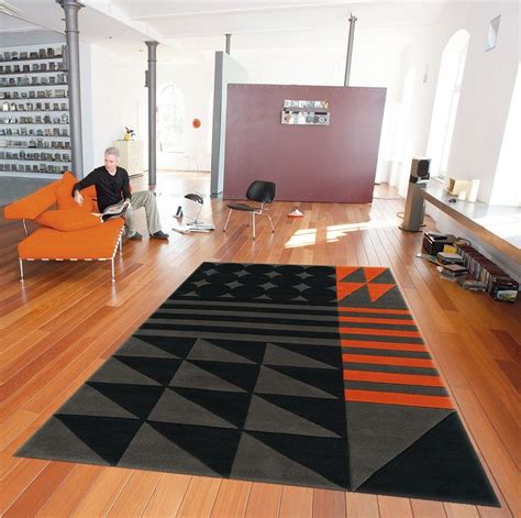 tapis modern line ethno pop noir gris orange spirit 90x160