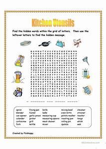 Kitchen Utensils Wordsearch Worksheet Free ESL Printable