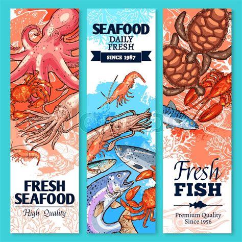 fish  seafood sketch banner set fresh crab salmon