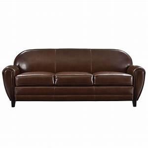 Canape club 3 places cuir marron adoptez nos canapes for Tapis de marche avec canapé 3 places cuir marron