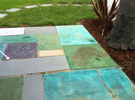 saw cut stained and re purposed concrete patio eclectic