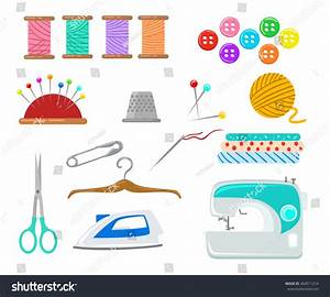 Set Objects Sewing Handicraft Sewing Tools Stock Vector ...