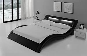 Lit 2 Personnes But : lit led design noir 140x190 avec sommier paddington ~ Melissatoandfro.com Idées de Décoration