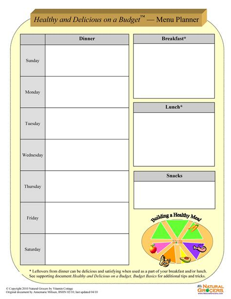 eat healthy and delicious menu planning worksheets print and fill out these worksheets before