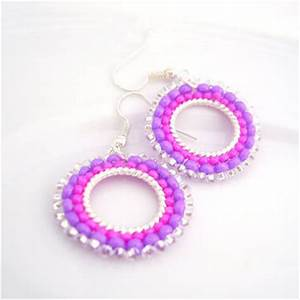 Hot Pink Earrings Neon Earrings Beaded from
