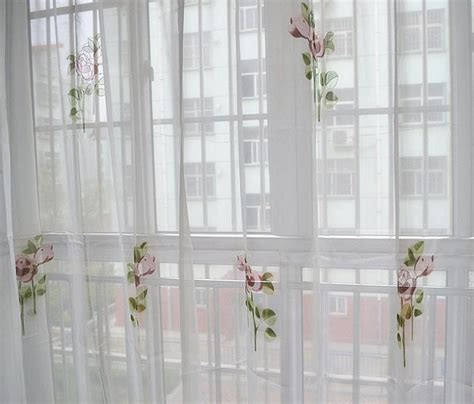 rod pocket country floral white sheer voile