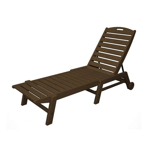 shop polywood nautical teak plastic stackable patio chaise