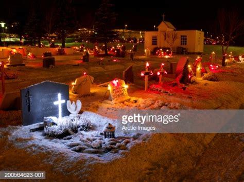 iceland hafnarfjordur cemetery decorated  christmas