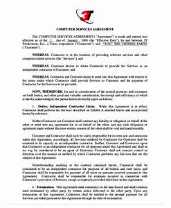 computer service agreement contract contractor contract With computer repair service agreement template