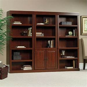 3 Shelves Wall Bookcase With Cabinet in Cherry - 102792