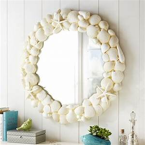 Shell mirror tropical wall mirrors by pbteen for Tropical bathroom mirrors