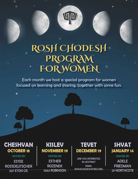 rosh chodesh program  women congregation tifereth