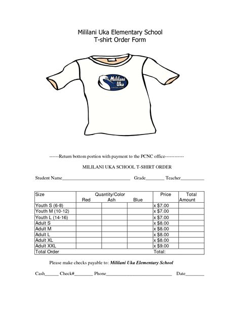 T Shirt Order Form Template School T Shirt Order Form Template Clothes