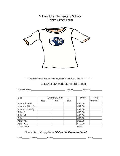 school  shirt order form template clothes pinterest