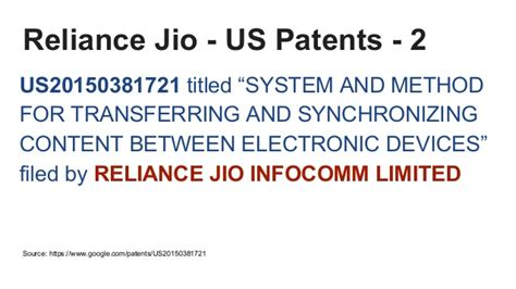 reliance jio business and technology patents filed in india and us