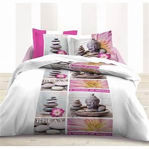 Parure De Lit Rose Et Gris : parure de lit zen rose 220x240cm ~ Melissatoandfro.com Idées de Décoration