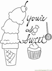 free printable coloring image Candy Cupcake Ice Cream Cone ...
