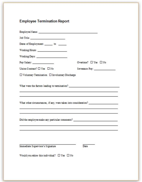 termination of employment form template form specifications