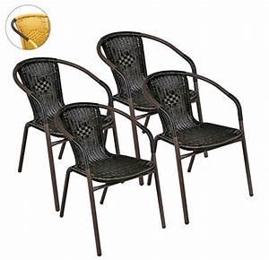 Gartenstühle Alu Stapelbar : 4er set bistrostuhl stapelstuhl balkonstuhl poly rattan gartenstuhl terrasse stuhl braun m bel24 ~ Watch28wear.com Haus und Dekorationen
