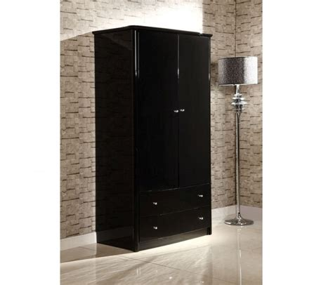 Small Wardrobe Black by Birlea Aztec Black Gloss 2 Door 2 Drawer Combination