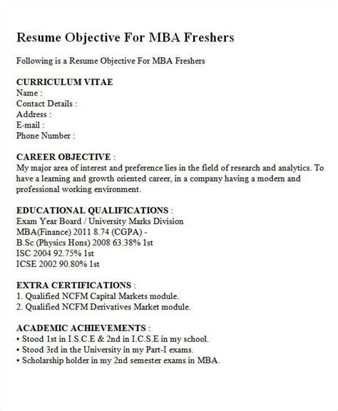 fresher resume templates   resume objective