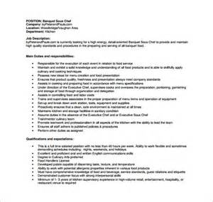 banquet sous chef resume banquet waiter description for resume