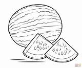 Watermelon Coloring Pages Drawing Colouring Printable Slice Clipart Melon Water Watermelons Printables Adult Under sketch template