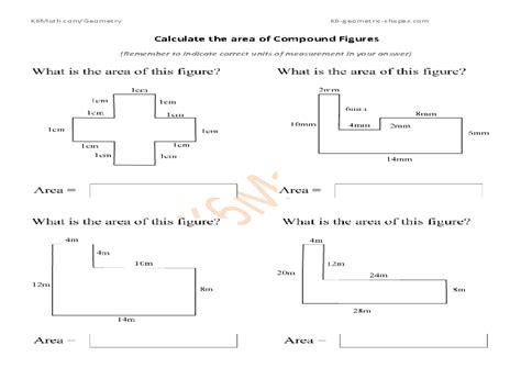 Printable Math Worksheets Area Compound Shapes  Area Of Composite Figures Worksheet 4th Grade