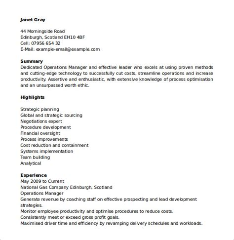 Resume Of Manager Operations by Sle Operations Manager Resume 9 Free