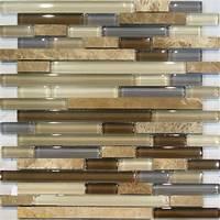 mosaic tile backsplash Sample-Marble Stone & Brown Beige Cream Linear Glass ...