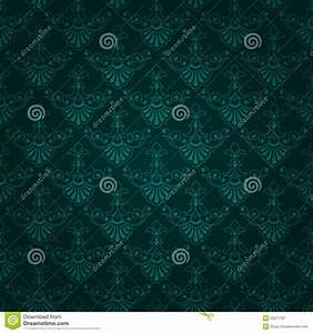 Seamless Dark Green Vintage Wallpaper Design Royalty Free ...