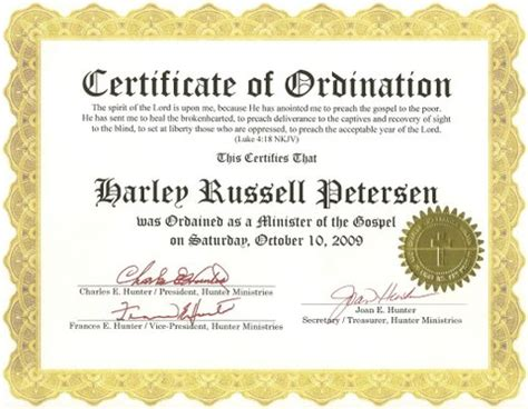 ordination papers template bishop