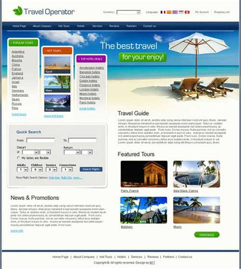 Tourism Website Design Free Templates by Travel Website Template 25 Designs To