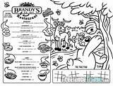 Coloring Menu Restaurant Designlooter Placemat Kid Activities Cartoon Side sketch template